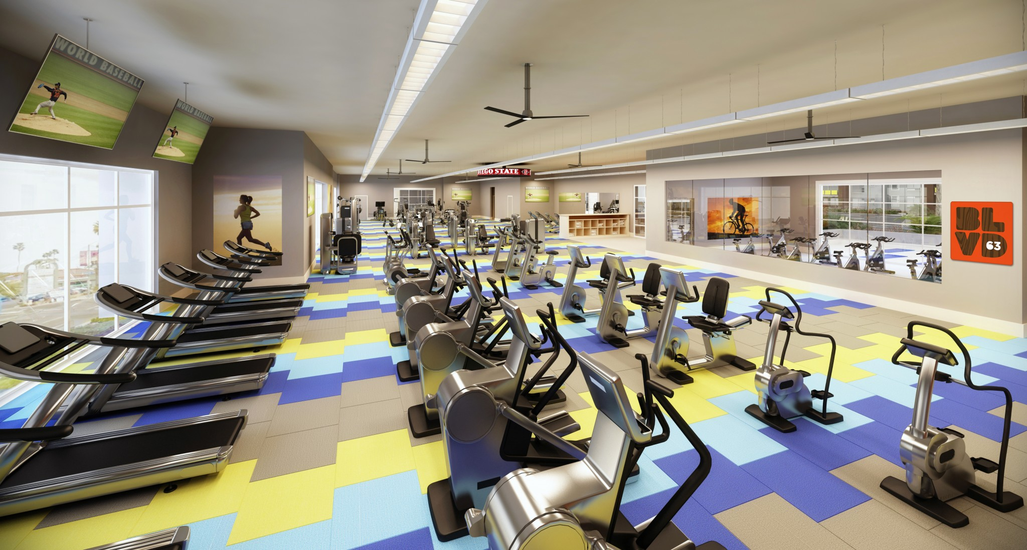 Interior of fitness center with various cardio equipment.