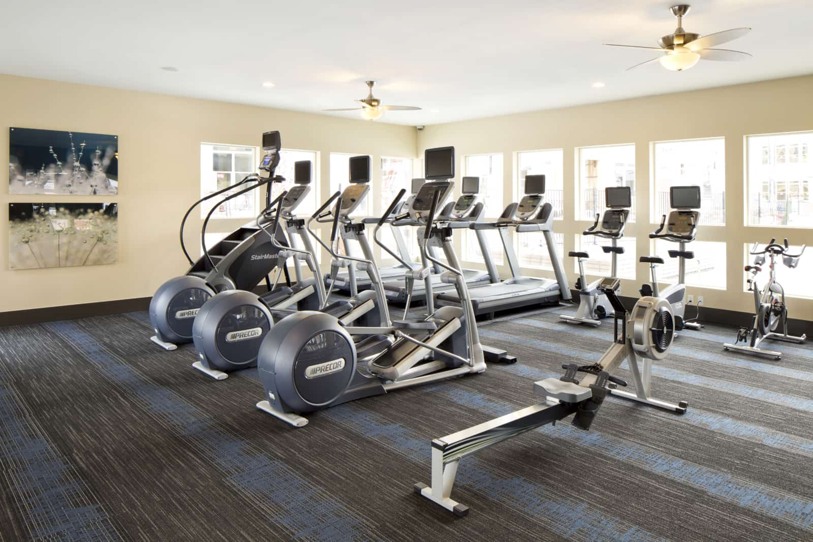 Interior of fitness center with treadmills, rowing machine and other equipment