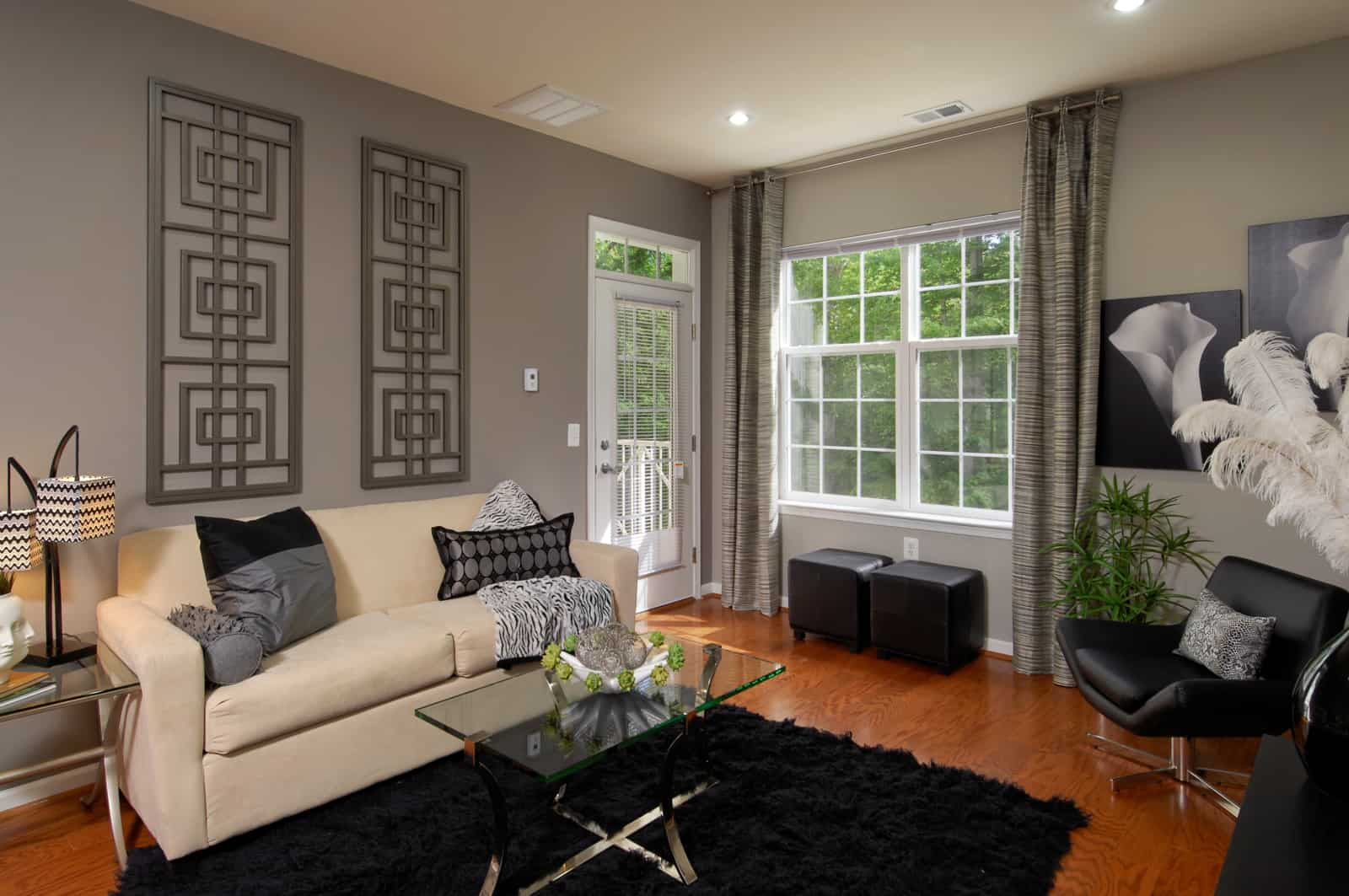Interior of living room with black and white decor.