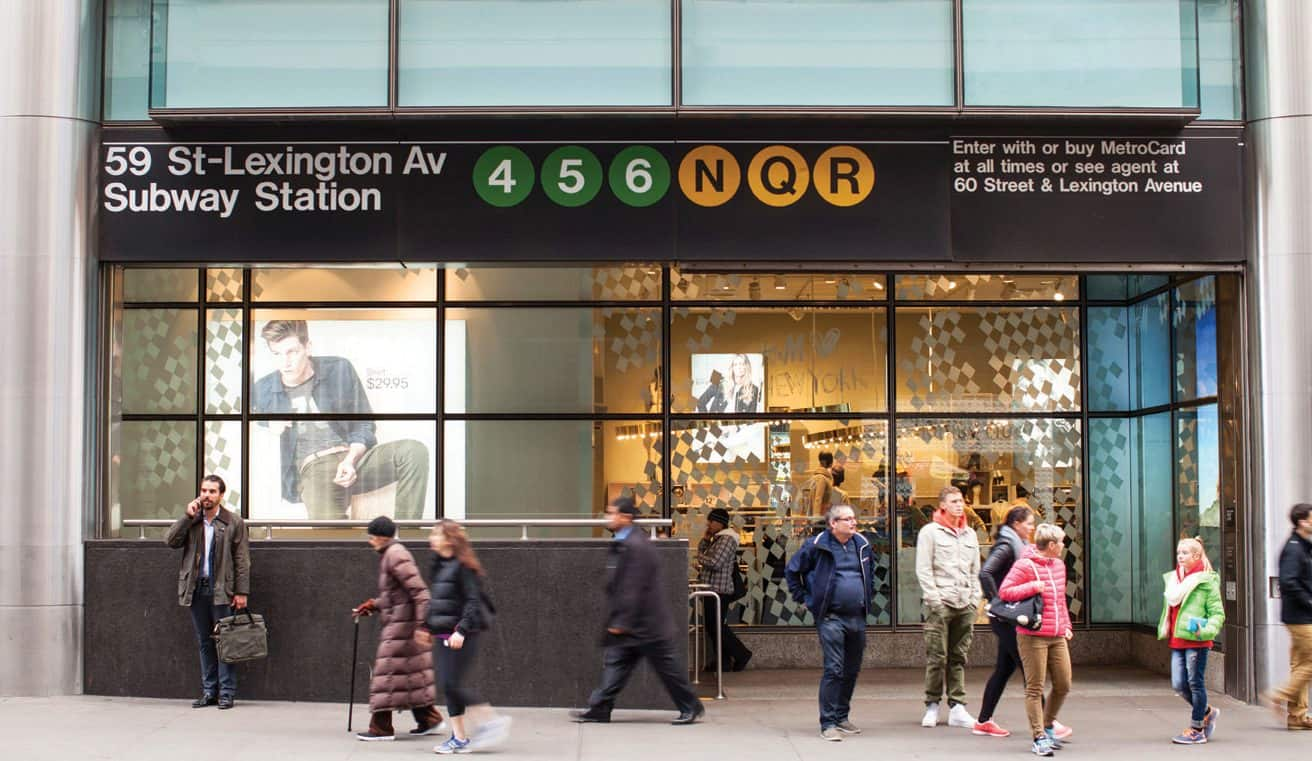 Street-level shot of the entrance to 59 St-Lexington Ave Subway Station in NYC.