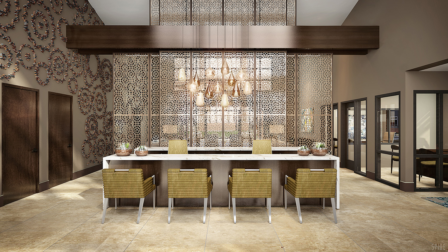 Interior of modern shared dining area