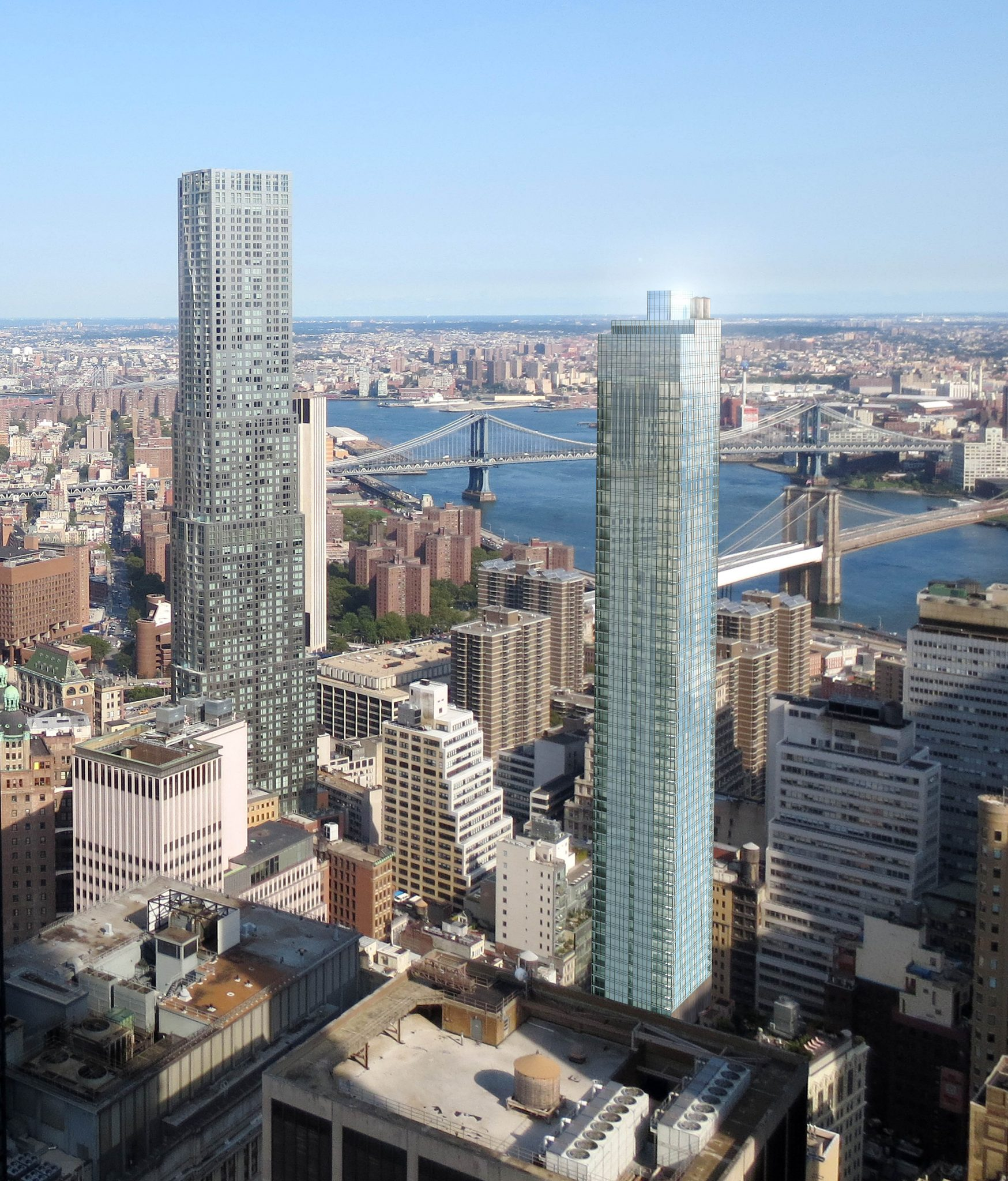 Aerial exterior of apartment tower amid the downtown New York City skyline.