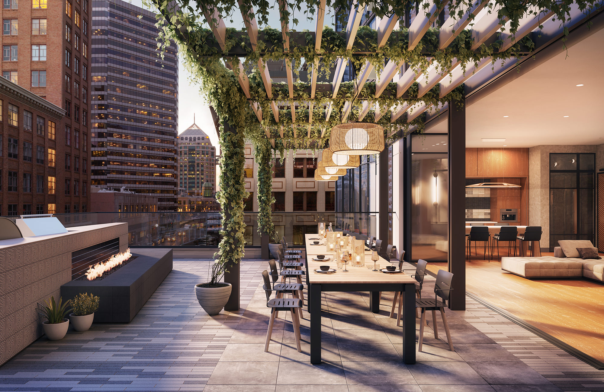 Exterior of rooftop outdoor seating with overhead trellis, firepit, barbeque and open glass wall to interior couch and table seating.